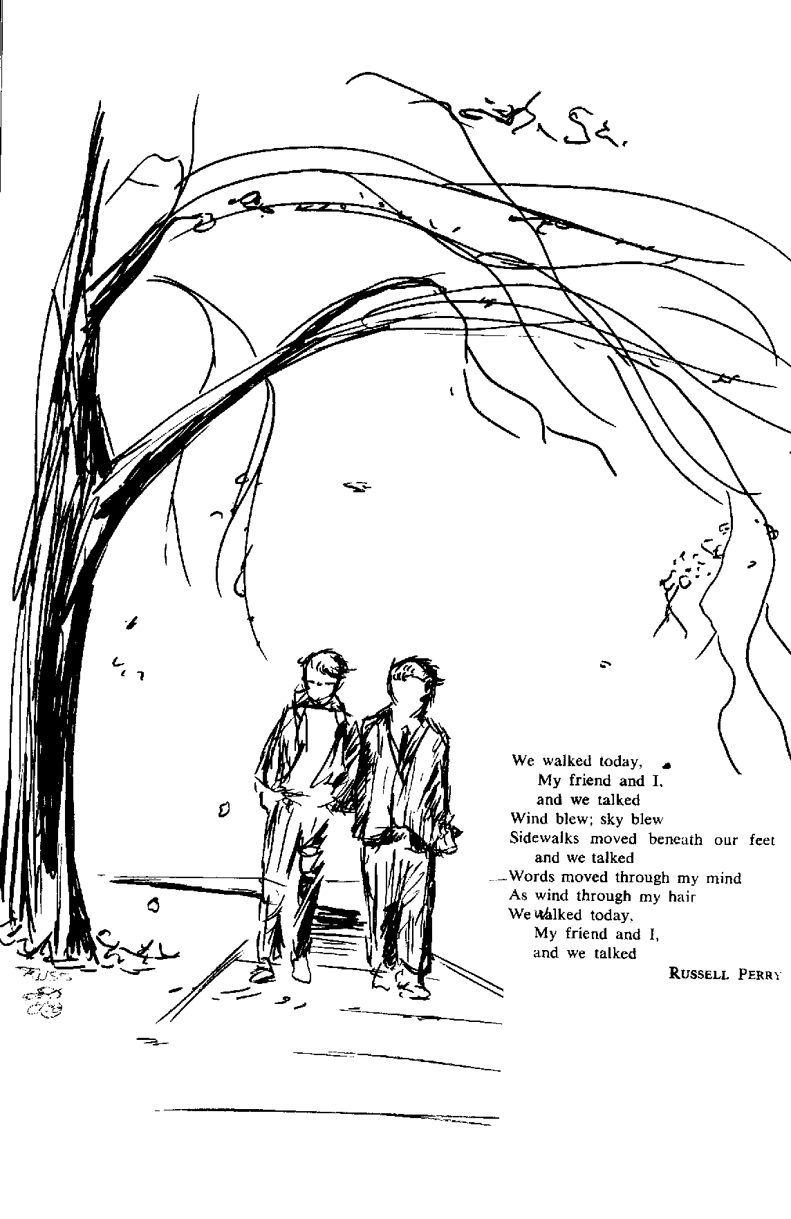 Drawing by Russ Judas for Communion in Pierce College Poetry Annual.